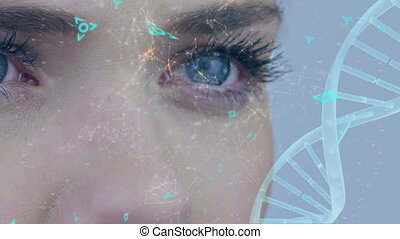 Eyes of a woman and DNA double helix with asymmetrical lines and futuristic symbols