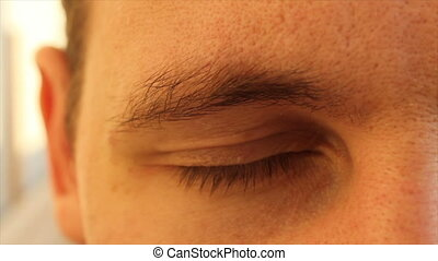eyes of a young man at a close distance