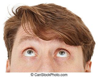 Eyes of man look upwards, close up - Eyes of the man look...