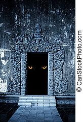 Eyes of monster  in open ancient door