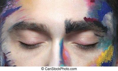 Eyes of scared man. Artistic face makeup macro.