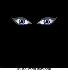 Eyes of the devil in dark - Halloween themed vector