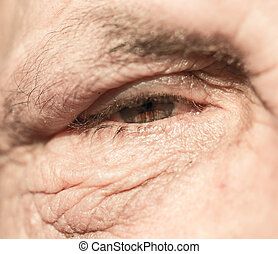 eyes of the old man. close-up