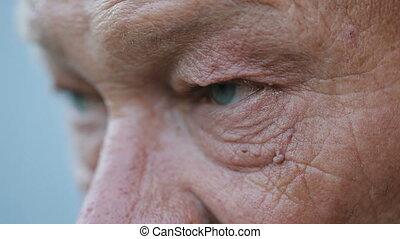 Eyes of unkind man - Evil sight of drunk rural elderly man