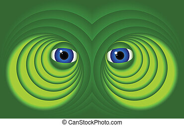 Eyes on a green background