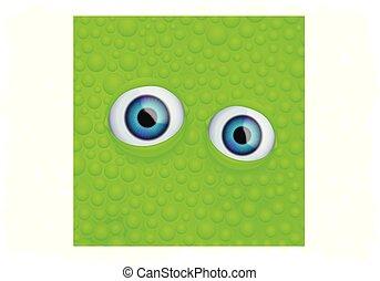 eyes on green fluid