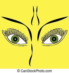 Eyes on yellow background