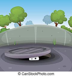 Eyes Spying From Manhole