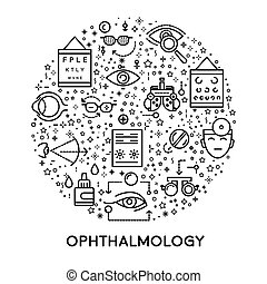 Eyes treatment, ophthalmology line icons, medicine and ...