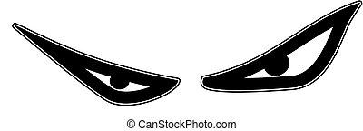 eyes, vector, kwaad