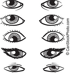 Eyes vector sketch - Doodle style eyes sketch in vector ...