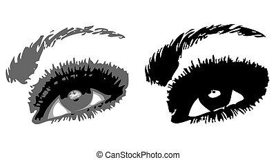 eyes., vektor, két, ábra