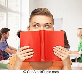 eyes, vrouw, boek, holdingshanden, rood