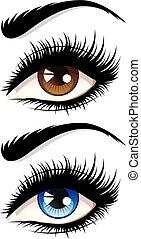 Eyes with long eyelashes - Detailed female eyes with long...
