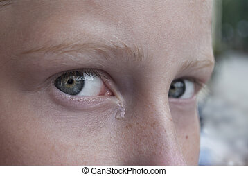 Eyes with tear close-up, teen girl crying