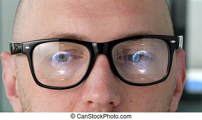 eyes with virtual projections on 3d glasses lenses - future...