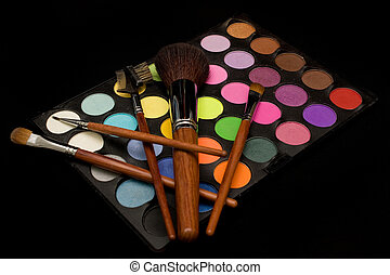 Eyeshadow and Blusher - Colorful eyeshadow and blusher with...