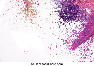 Eyeshadow Cosmetic Powder Scattered Copy Space. various cosmetic set isolated on white background. The concept of fashion and beauty industry. Abstract, place for text, the texture of mineral makeup