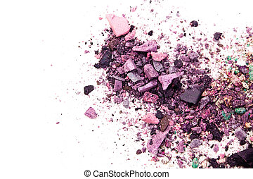 Eyeshadow Cosmetic Powder Scattered Copy Space. various set isolated on white background. The concept of fashion and beauty industry. Abstract, place for text, the texture mineral makeup