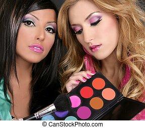 eyeshadow, fason, barbie, makijaż, dziewczyny, paleta, szczotka