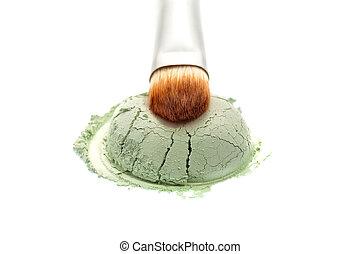 Eyeshadow powder with brush on white background