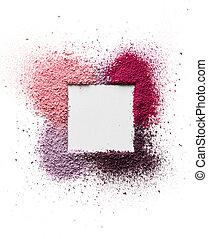 eyeshadow, quadrat, form, raum, text., rahmen, zerstreut, freigestellt, gesicht, hintergrund., weißes, erröten