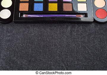 eyeshadow, schwarz, palette, hintergrund, bürste