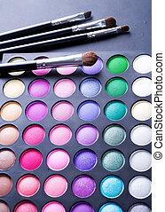 eyeshadows, professioneel, palet, veelkleurig, make-up.