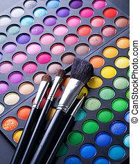 eyeshadows, professioneel, palet, veelkleurig, makeup.
