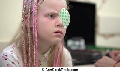 Eyesight check. Caucasian girl who have vision...