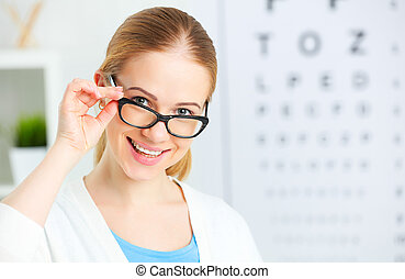 eyesight check. woman in glasses at doctor ophthalmologist...