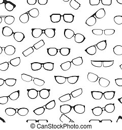 Eyesight glasses with various styles of plastic framing isolated cartoon flat vector seamless pattern illustrations set on white background. Fashionable facial male and female accessory for vision improvement.