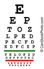 Eyesight test chart isolated on white background