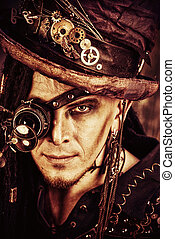 eyewear device - Portrait of a steampunk man over grunge...