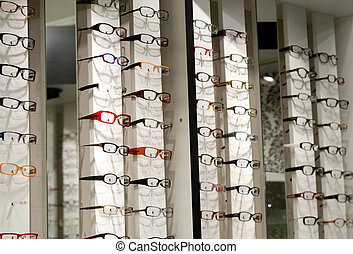 Eyewear - Display in store with different eyewear models