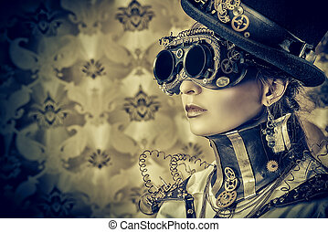 eyewear - Portrait of a beautiful steampunk woman over...