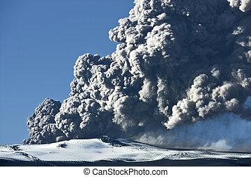 Eyjafjallajokull volcano - Ash cloud rising from the...