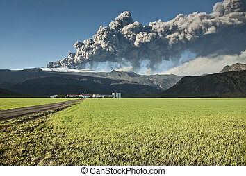 Eyjafjallajokull volcano - Ash cloud from the...