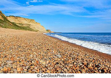 Eype Beach Dorset - Shingle beach at Eype Dorset England UK...