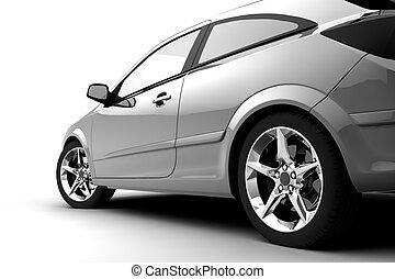 ezüst, autó, képben látható, egy, white háttér