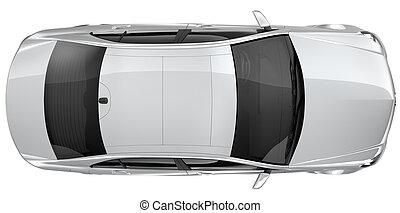 ezüst, autó, -, tető kilátás
