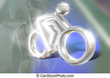 ezüst, bicikli, ikon