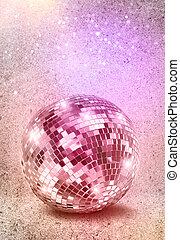 ezüst, disco, tükör labda, szüret, befest