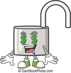 ezüst, kinyit, kulcs, szem, pénz, fehér, háttér.