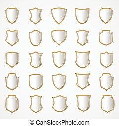 ezüst, pajzs, tervezés, állhatatos, noha, különféle, shapes.