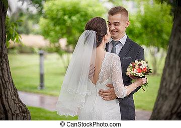 ezeket, romantikus, boldog, percek, közül, esküvő, párosít.