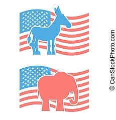 ezel, democratisch, usa, elections., symbool, elefant, politiek, republicans., tegen, symbolen, america., policy., democraten, oppositie, partijen, amerikaan, elephant., republikein, debat