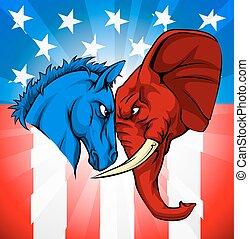 ezel, elefant, amerikaan, verkiezing, concept