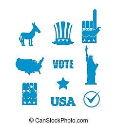 ezel, sam, usa, standbeeld, map., set., politiek, democraat, vrijheid, symbolen, america., oom, verkiezing, fist, partijen, hoedje, pictogram
