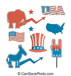 ezel, set, sam, symbolen, ons, partijen, debat, verenigd, flag., politiek, america., elefant, kaart, oom, hat., amerika, republicans., states., verkiezingen, tegen, amerikaan, democraten